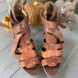Fergie Brown Leather Strappy Heels